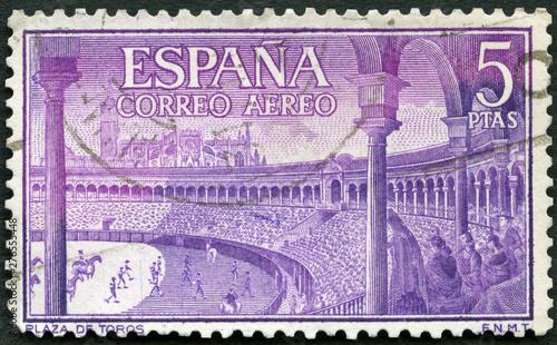 Canvas Print SPAIN - 1960: shows Bull ring, Spanish style bullfighting, corrida