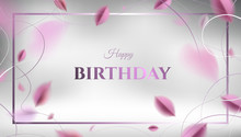 Luxury Happy Birthday Card. Abstract Creative Floral Background With Pink Leaves And Silver Color Rich Elegant Decoration Vector Design