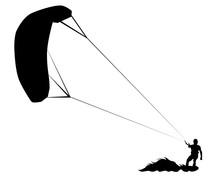 Athlete On A Parachute Surfboa...