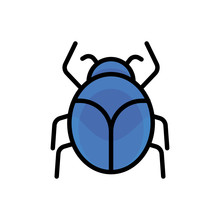 Vector Blue Bug. Used For Debugging Icons, Bug Report Or Pesticide Signs.