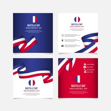 Bastille Day Vector Template. France Independence Day Design Template. Design For Banner; Greeting Cards Or Print.