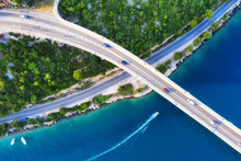 Croatia. Aerial View On Bridge...