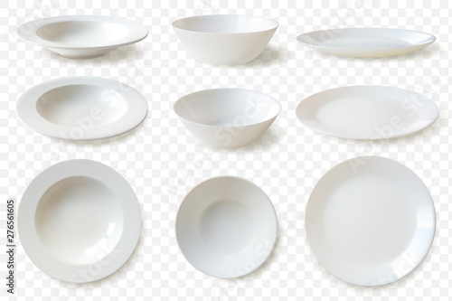 Realistic plates set Wallpaper Mural