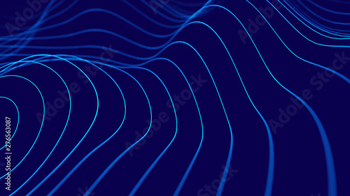 Fotobehang Fractal waves Wave 3d. 3D blue glowing abstract background. Abstract background with a dynamic wave. Big data visualization. 3d rendering.