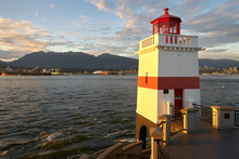 Brockton Point Lighthouse Dusk. Brockton Point Lighthouse In Vancouver At The East End Of Stanley Park On Burrard Inlet. British Columbia, Canada.