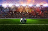 Fototapeta Sport - Football soccer sport stadium field with ball, green grass, tribunes full of fans, spotlights, flashes illumination. Crowded football soccer championship arena  at night. Sports design background. 3D