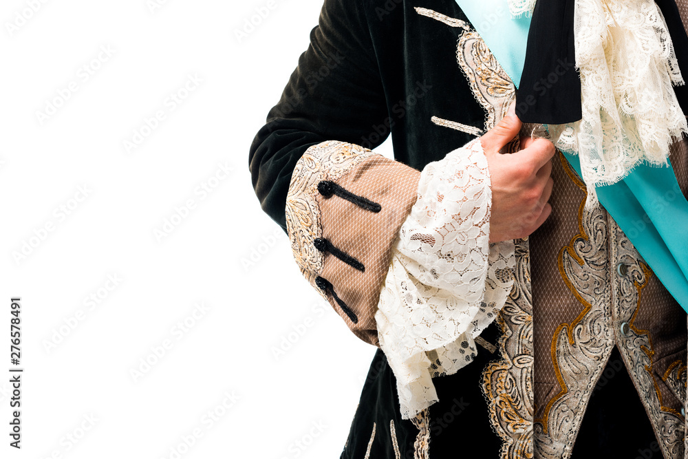 Fototapety, obrazy: cropped view of man touching suit isolated on white