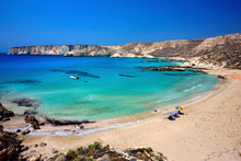 One Of The Many Beautiful Beaches In Koufonissi, A Tiny Uninhabited Island, About 3 Miles South Of Crete, Sitia Municipality, Lasithi Prefecture, Greece.