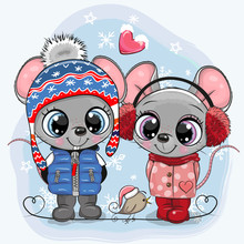Mouses Boy And Girl In Hats An...