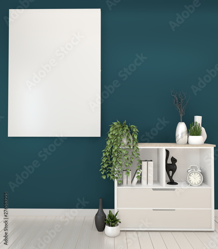 Mock Up Frame On Wooden Cabinets Tv In A Dark Green Room And Decoration 3d Rendering Buy This Stock Illustration And Explore Similar Illustrations At Adobe Stock Adobe Stock