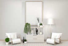 Poster Mock Up White Cabinet, Frame, Chair And Decoration Plants Zen Style.3D Rendering