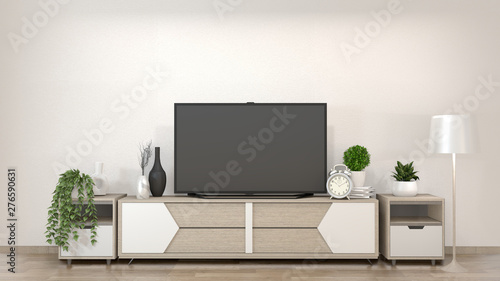 Fotografie, Obraz  Smart Tv Mockup on zen living room with decoraion minimal style