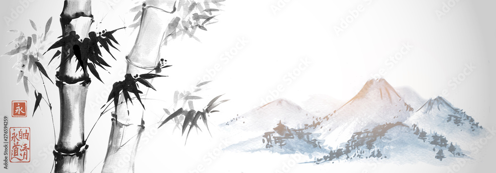 Fototapeta Bamboo trees and far blue mountains on white background. Traditional Japanese ink wash painting sumi-e. Hieroglyphs - eternity. freedom, clarity, way.