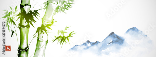 Green bamboo and far blue mountains on white background Wallpaper Mural