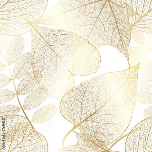 Fototapeten Künstlich Seamless pattern with gold autumn leaves. Vector,
