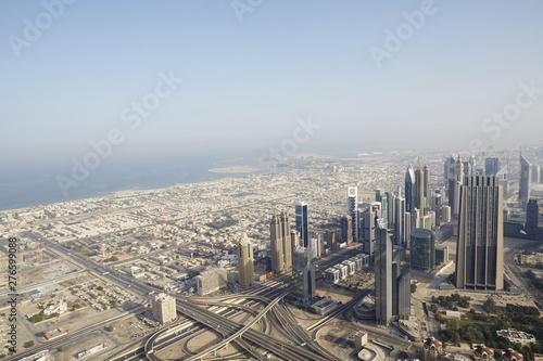Fotomural Aerial view of the City; Burj Khalifa;At The Top;Dubai; United Arab Emirates