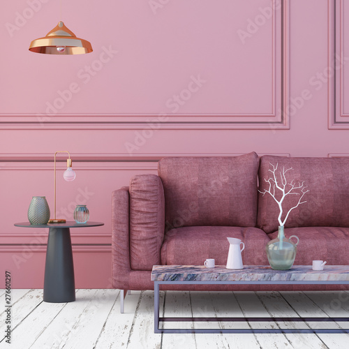 Scandinavian style interior with sofa.  3d render Wall mural