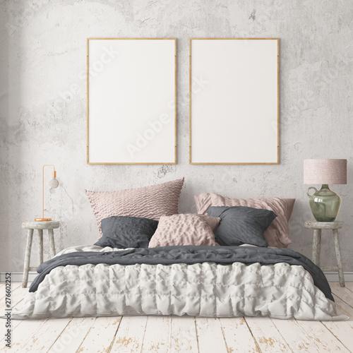 Mockup bedroom interior in the Scandinavian style Wallpaper Mural