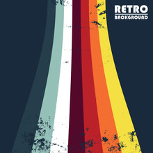 Retro Grunge Design Background With Colored Stripes