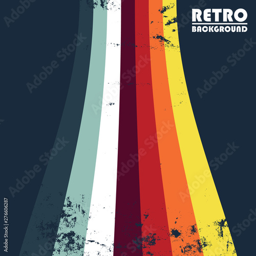 Obraz Retro grunge design background with colored stripes - fototapety do salonu