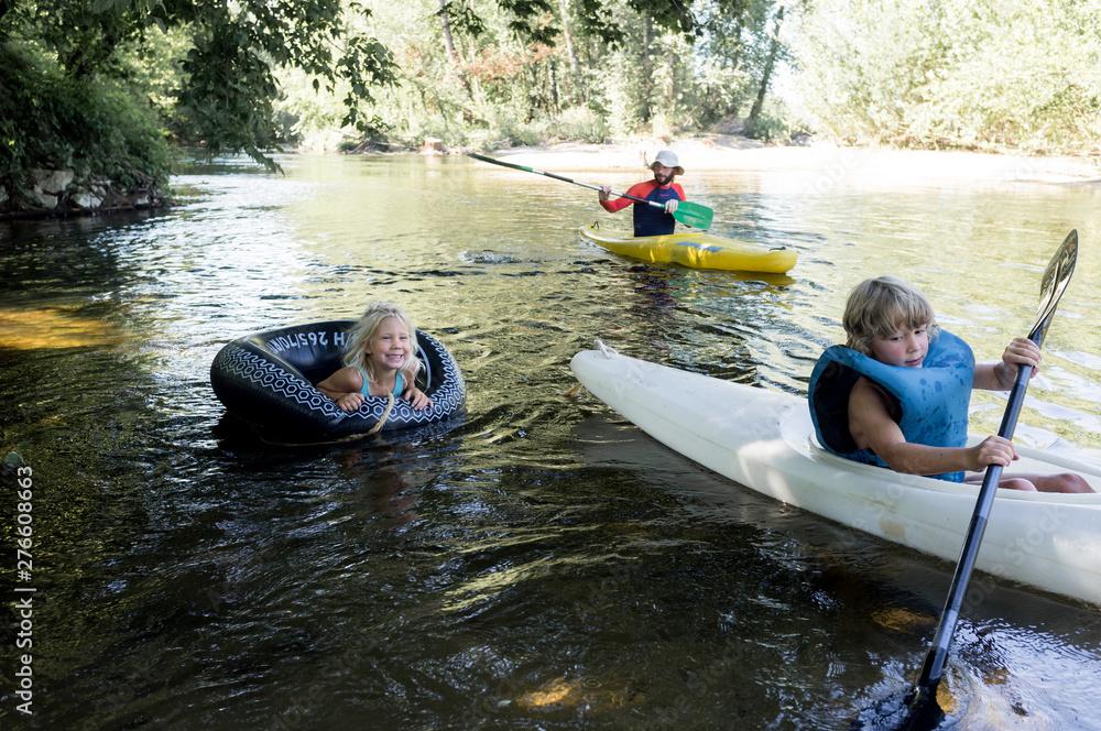 Fototapety, obrazy: kayak en famille