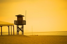 A Lifeguard Tower In A Deserte...