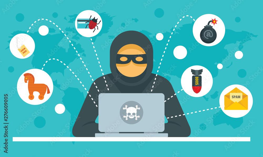 Fototapeta Cyber attack concept background. Flat illustration of cyber attack vector concept background for web design