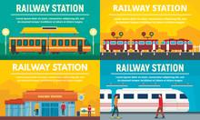 Railway Station Banner Set. Fl...