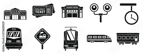Modern railway station icons set Canvas Print