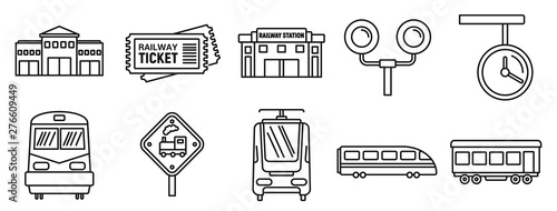 Fotografie, Tablou Railway train station icons set