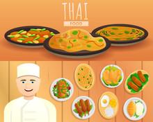 Thai Food Banner Set. Cartoon Illustration Of Thai Food Vector Banner Set For Web Design