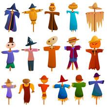 Scarecrow Icons Set. Cartoon Set Of Scarecrow Vector Icons For Web Design
