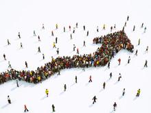 Crowd Of People United Forming A Growing Arrow. 3D Rendering