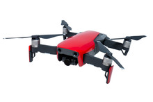 Red Quadcopter On White Backgr...