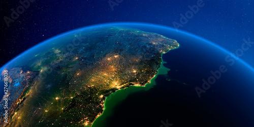 Keuken foto achterwand Nasa Detailed Earth at night. Central America. East Coast of Brazil