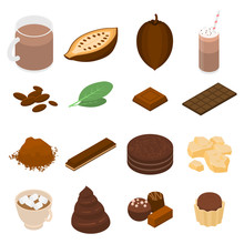 Cocoa Icons Set. Isometric Set Of Cocoa Vector Icons For Web Design Isolated On White Background