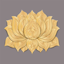 Beautiful Gold Lotus Flower. Hand Drawn Doodle Element. Ethnic Design. Vector Illustration.