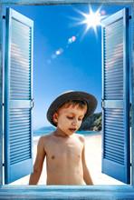 Open Blue Retro Window And Small Boy On Beach
