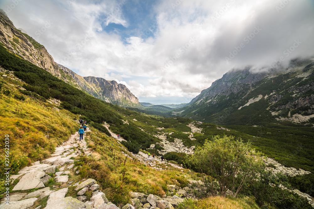 Fototapety, obrazy: Rocky Mountain Hiking Trail in Mengusovska Valley, High Tatras, Slovakia