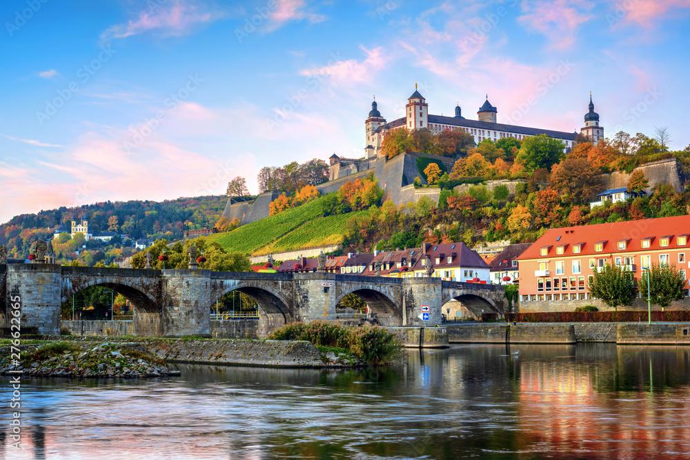 Fototapety, obrazy: Wurzburg, Germany, Marienberg Fortress and the Old Main Bridge
