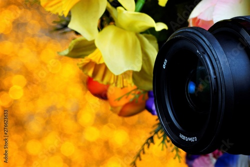 Photo The lens of the artist's camera, summer flowers on a Golden background bokeh holiday