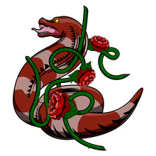 Isolated Detailed Colored Tattoo Of A Snake With A Climbing Plant - Vector