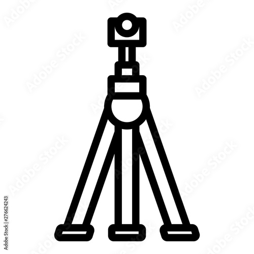 Camera on tripod icon. Outline camera on tripod vector icon for web design isolated on white background Fotobehang