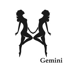 Gemini Zodiac Sign Horoscope Symbol. Isolated Astrological Icon In Simple Style