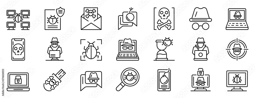 Fototapeta Hacker icons set. Outline set of hacker vector icons for web design isolated on white background