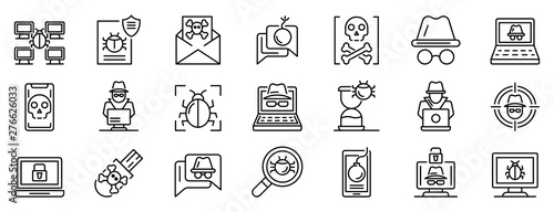Hacker icons set Fotobehang