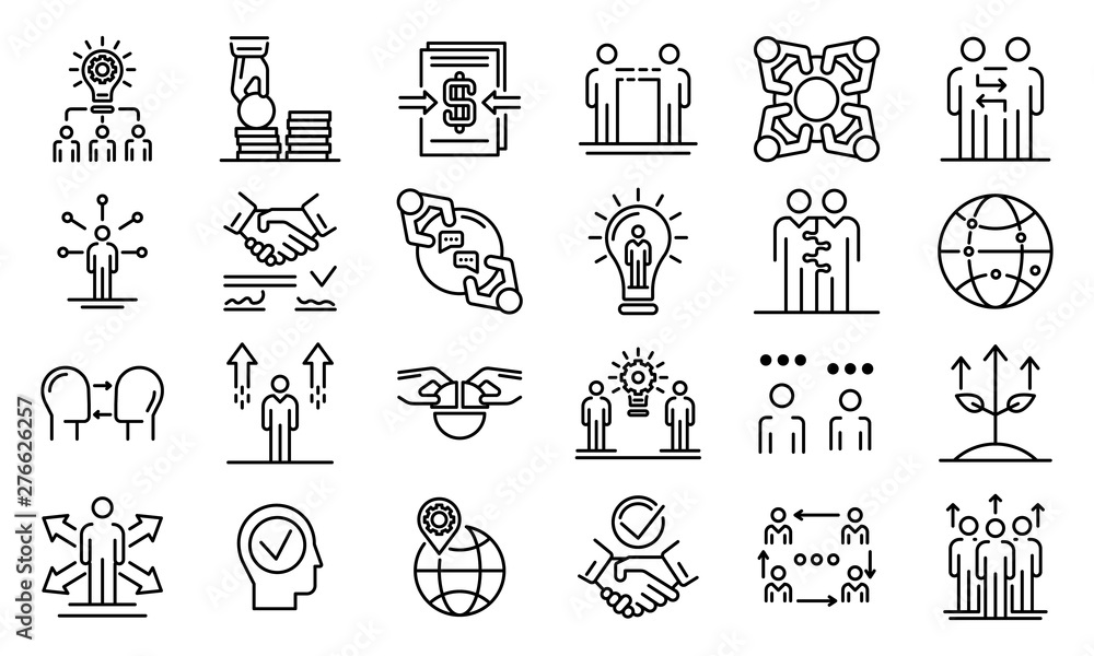 Fototapety, obrazy: Business cooperation icons set. Outline set of business cooperation vector icons for web design isolated on white background