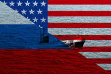 Large Military Submarine On The Water Surface Against The Background Of The National Flag Of The Russian Federation And The United States, The Concept Of The Country's Navy