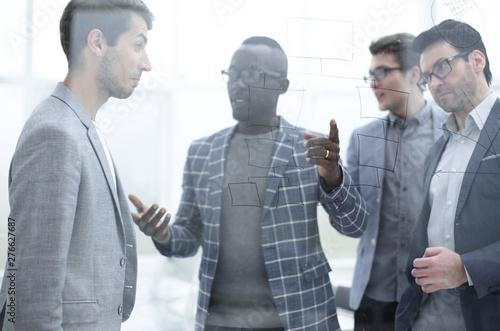 Deurstickers Snelle auto s business team discussing marketing ideas.