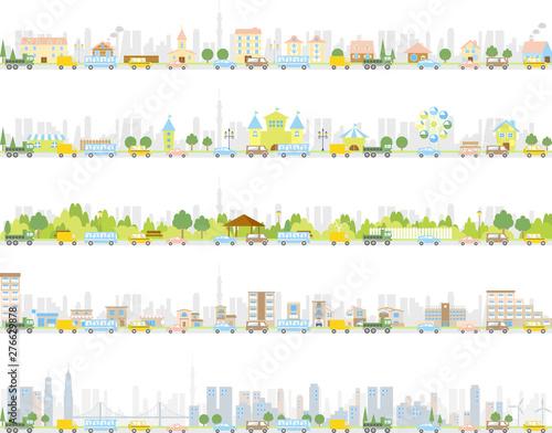 街並み 交通渋滞 セット